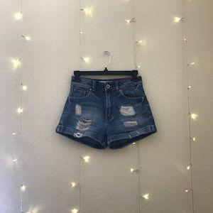 Pacsun Bullhead High Waisted Distressed Mom Shorts